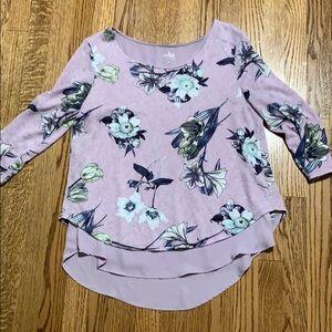 New York & Company Split Back Floral Blouse